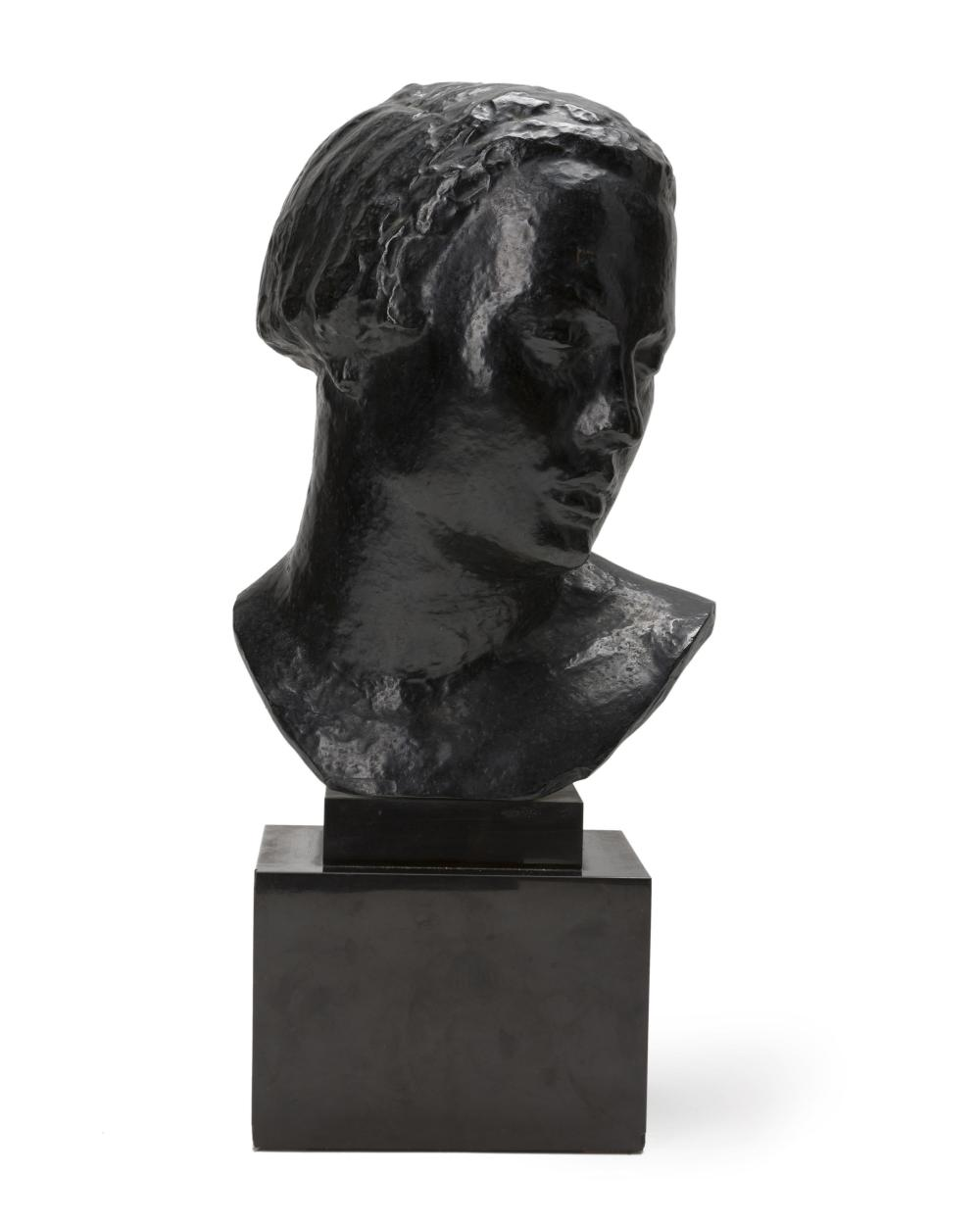 """Robert Wlerick, (1882-1944 French), Bust of a woman, Patinated cast bronze on marble plinth, 14.25"""" H x 10"""" W x 8"""" D"""