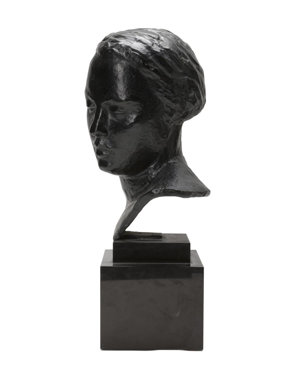 Robert Wlerick, (1882-1944 French), Bust of a woman, Patinated cast bronze on marble plinth, 14.25