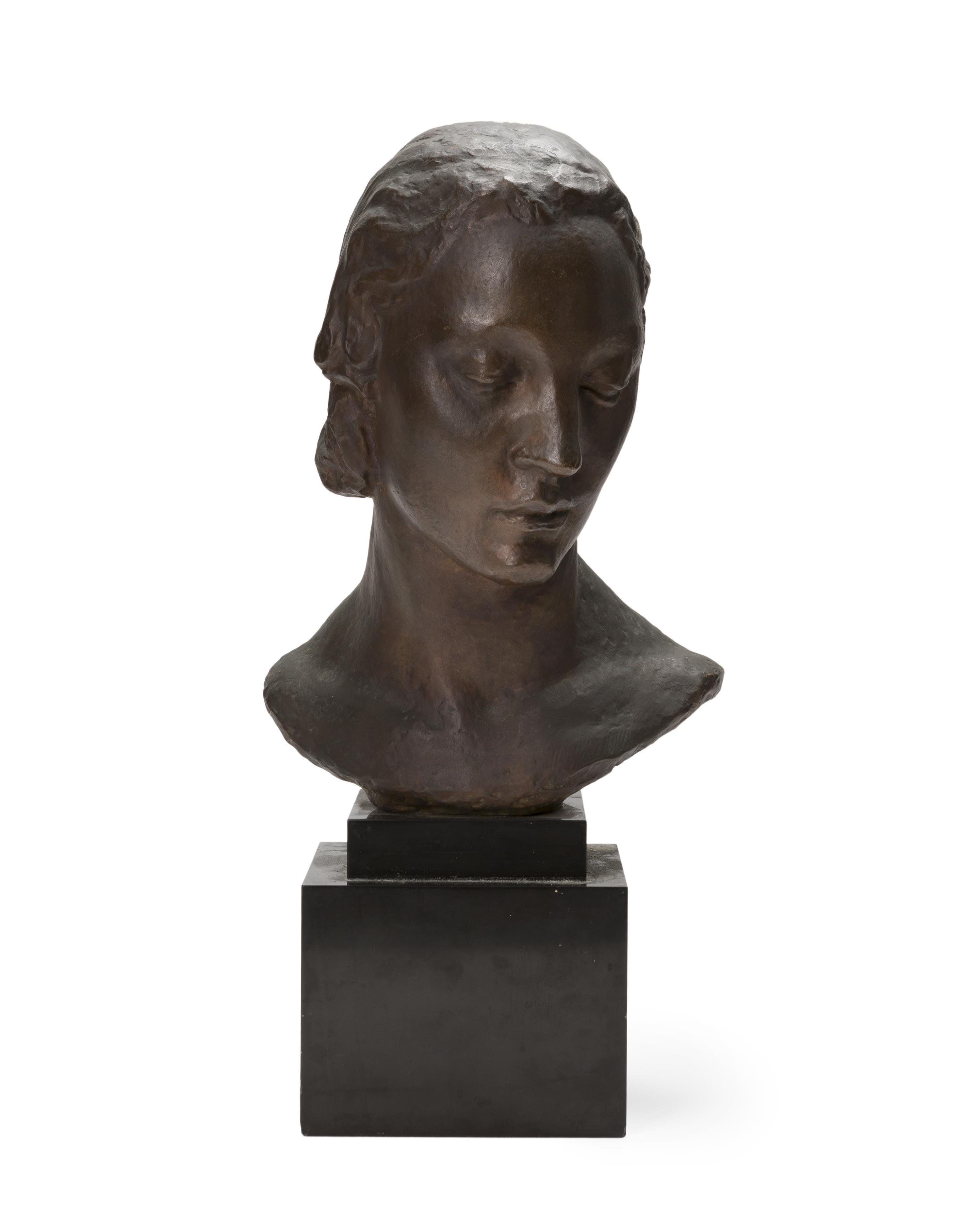 """Robert Wlerick, (1882-1944 French), Bust of a woman, Patinated cast bronze on marble plinth, 15.5"""" H x 11"""" W x 10.25"""" D"""