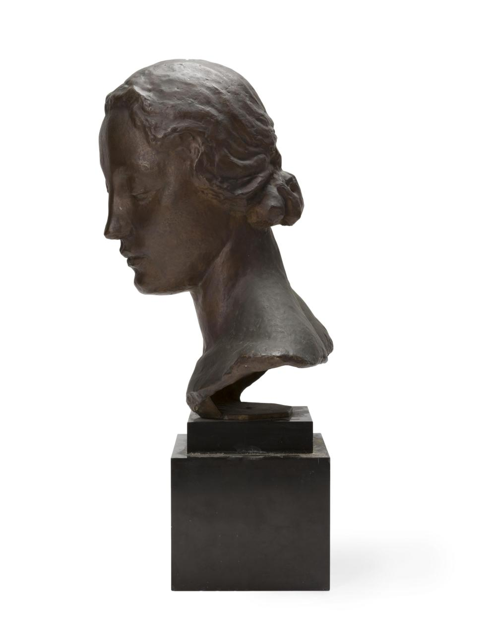 Robert Wlerick, (1882-1944 French), Bust of a woman, Patinated cast bronze on marble plinth, 15.5