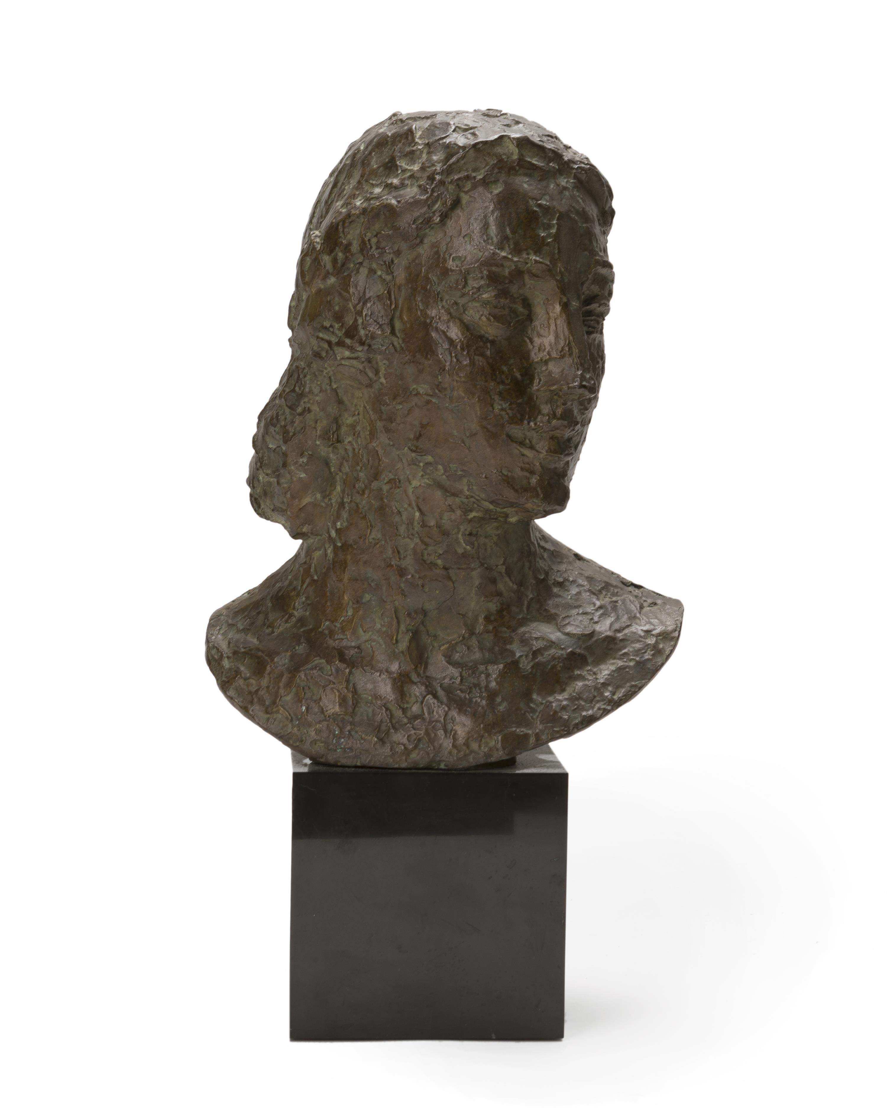 """Robert Wlerick, (1882-1944 French), Bust of a woman, Patinated cast bronze on marble plinth, 12.625"""" H x 9.75"""" W x 7"""" D"""