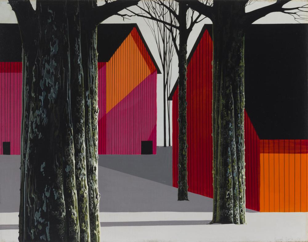 "Eyvind Earle, (1916-2000 Carmel, CA), ""Red Barns and Tall Trees Casting Shadows in a Snow Covered Precisionist Landscape,"" 1970, Oil on"