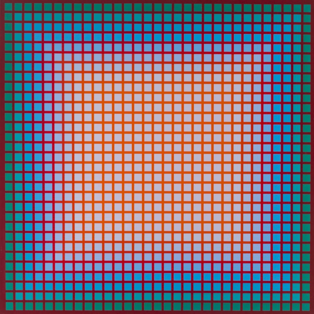"Julian Stanczak, (1928-2017 Polish/American), ""Accompanying Warm,"" 1979, Oil on canvas, 32"" H x 32"" W"