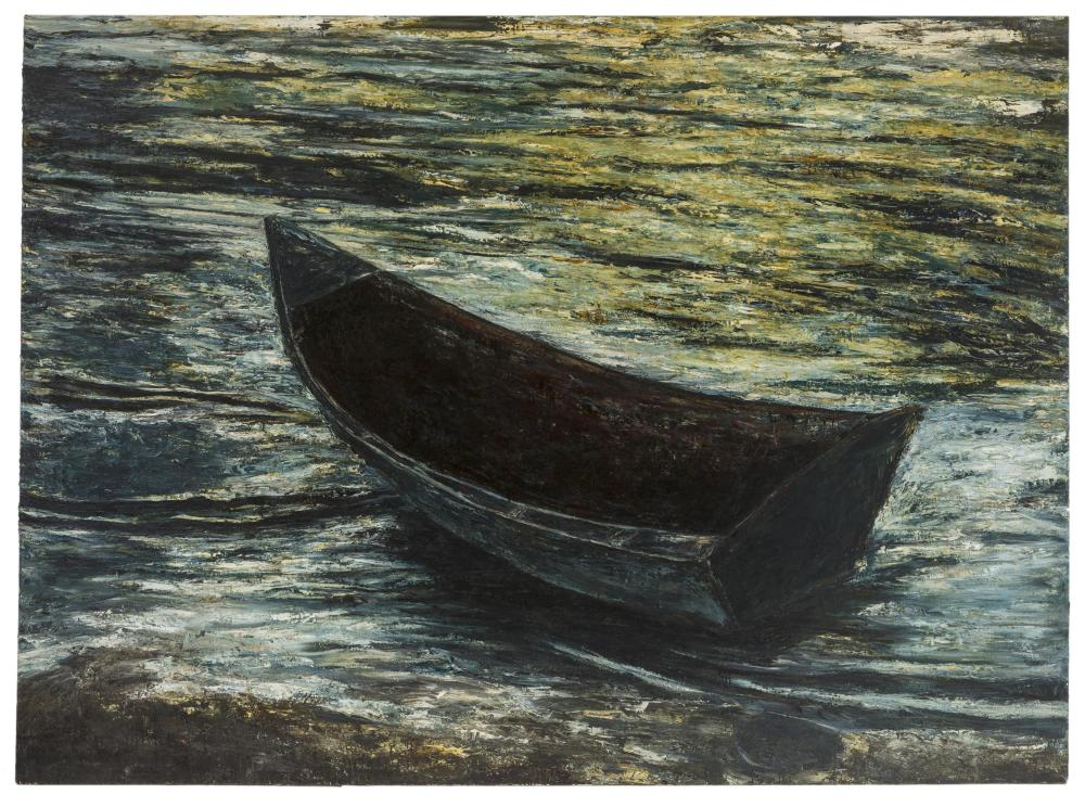 """Ev Thomas, (b. 1949 American), """"I am the Boat, the Bait, and the Water"""", Oil on canvas, 86.5"""" H x 118"""" W"""