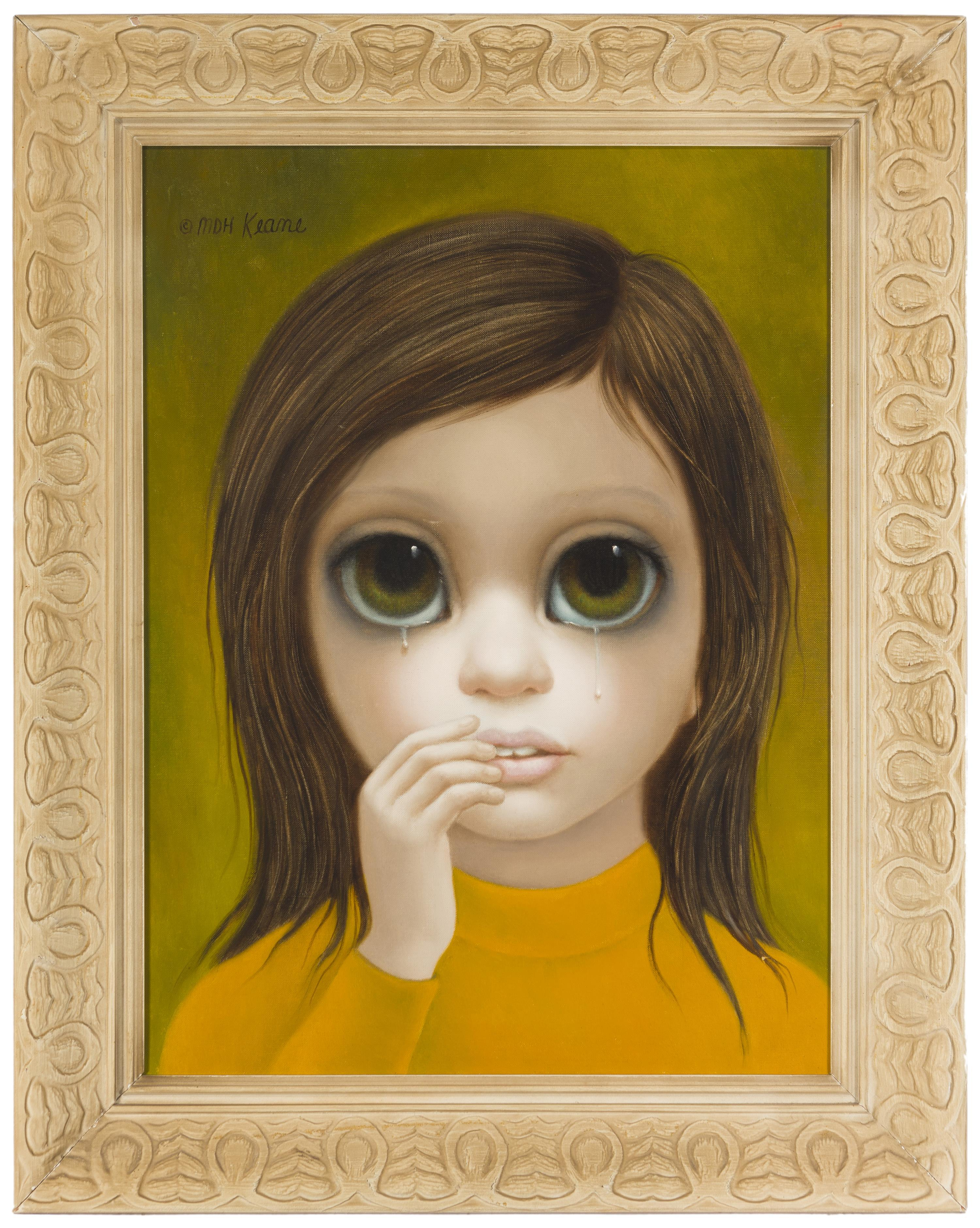 """Margaret Keane, (b. 1927 Honolulu, HI), Portrait of a young crying girl, Oil on canvas, 24"""" H x 18"""" W"""
