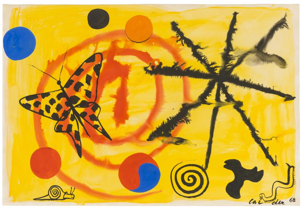 "Alexander Calder, (1898-1976 American), Untitled, 1968, Gouache and watercolor on Canson paper under Plexiglas, Sheet: 29.25"" H x 43..."