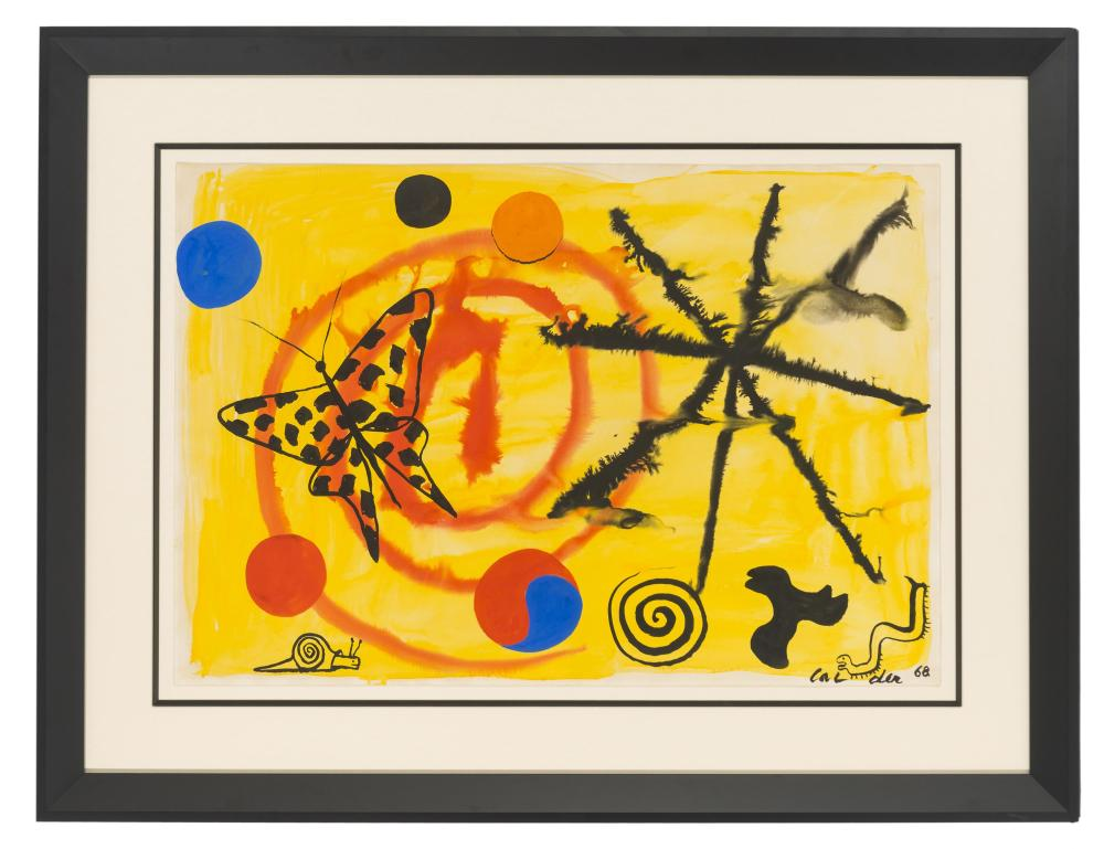 Alexander Calder, (1898-1976 American), Untitled, 1968, Gouache and watercolor on Canson paper under Plexiglas, Sheet: 29.25