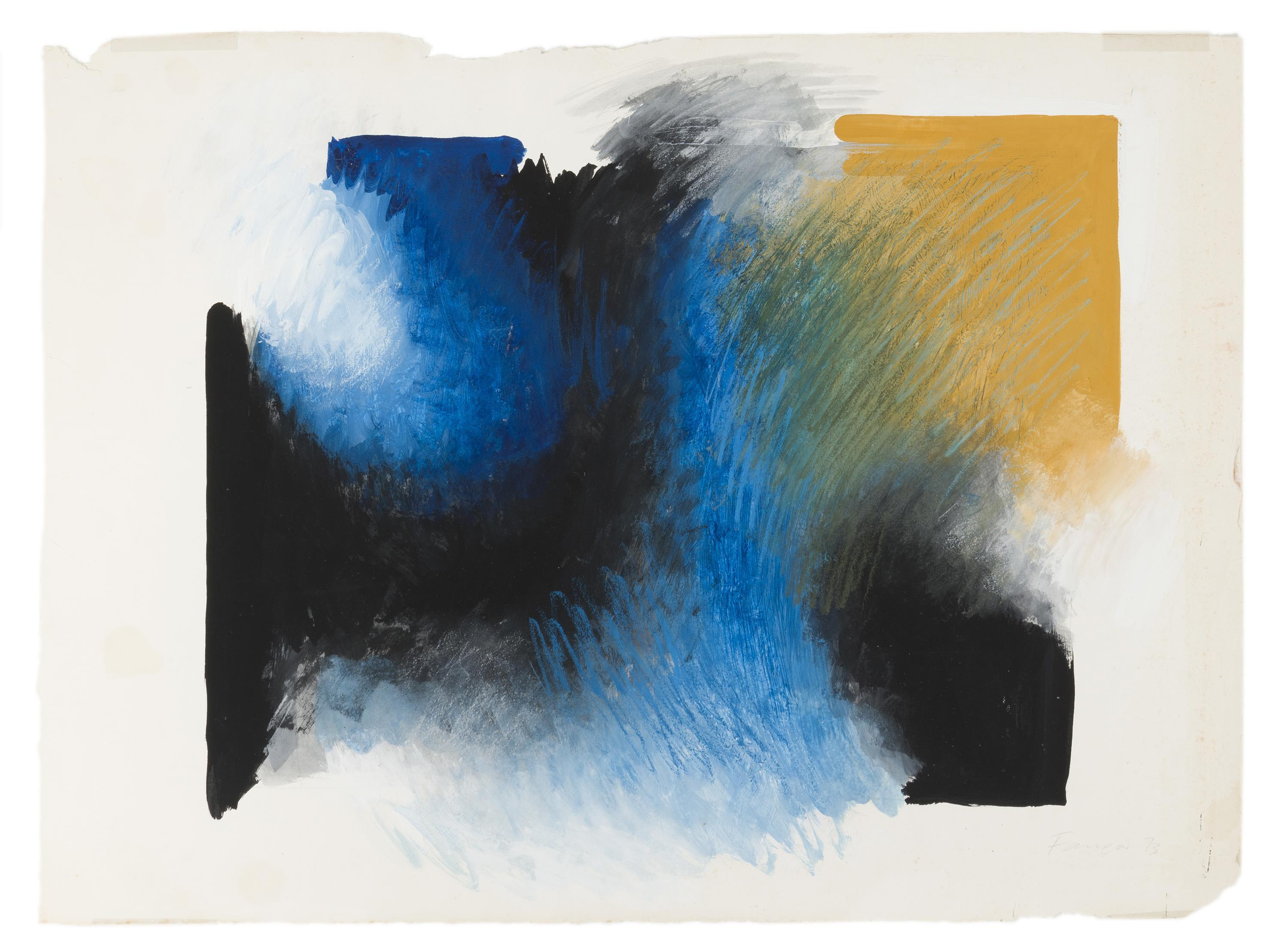 "Wojieck Fangor, (1922-2015 Polish), Untitled abstract, 1973, Mixed media on paper under glass, Sight: 19"" H x 23"" W"