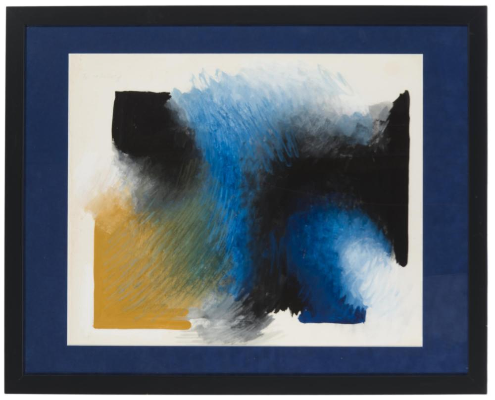 Wojieck Fangor, (1922-2015 Polish), Untitled abstract, 1973, Mixed media on paper under glass, Sight: 19