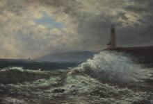 """Attributed to Frederick William Billing, (1835-1914 Santa Cruz, CA), """"California Coast with Watchtower"""", Oil on canvas laid to waxed ca"""