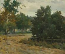 "Ovanes Berberian, (1951-* American), Country path, 1983, Oil on board, 20"" H x 24"" W"