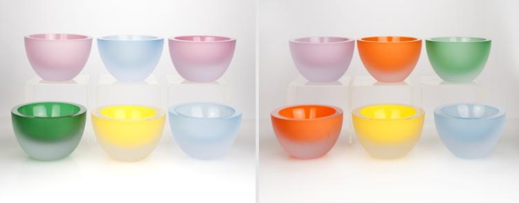 Twelve frosted and colored art glass bowls