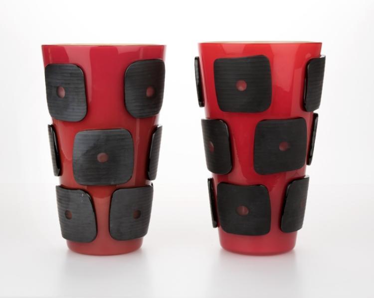 A pair of Venini art glass vases