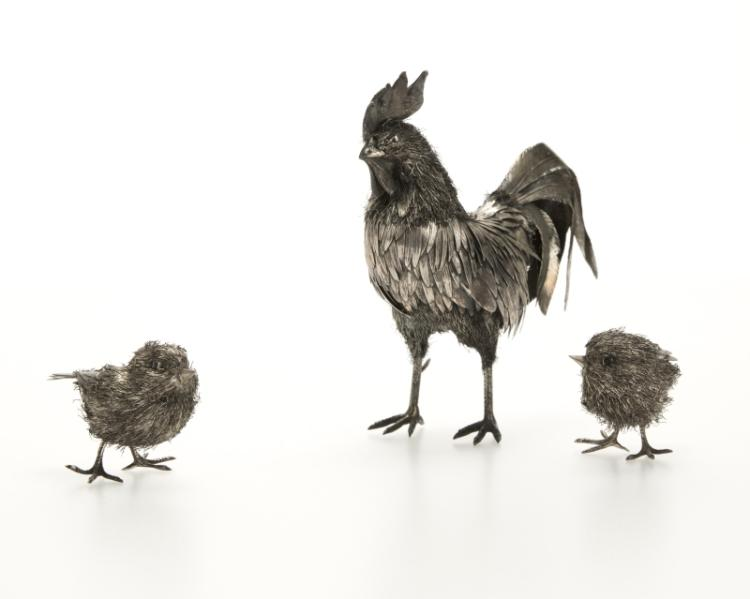 A Buccellati sterling silver rooster & two chicks