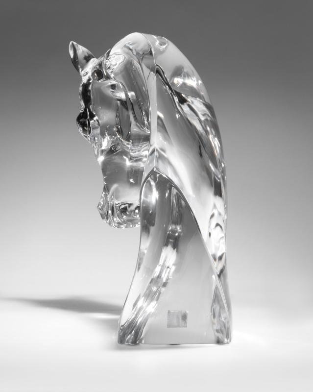 A Lalique ''Tete de Cheval'' art glass sculpture