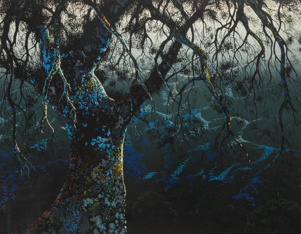 "Eyvind Earle, (1916-2000 Carmel, CA), ""Jewel Tree,"" 1975, Color serigraph on paper under Plexiglas, Image: 22"" H x 28"" W"
