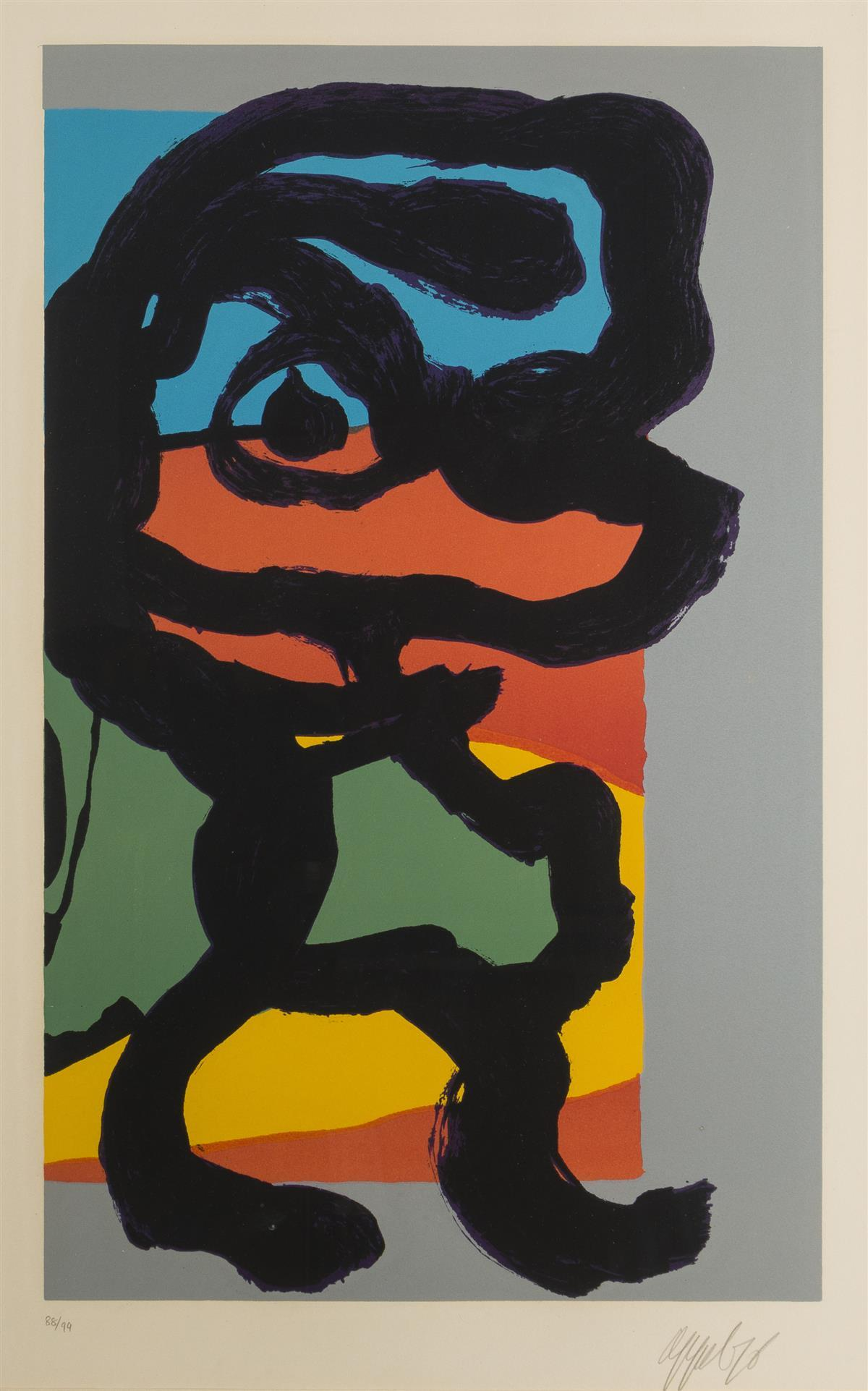 "Karel Christiaan Appel, (1921-2006 Dutch), Untitled (Abstract figure), 1976, Color lithograph on paper under glass, Sight: 26"" H x 17"""