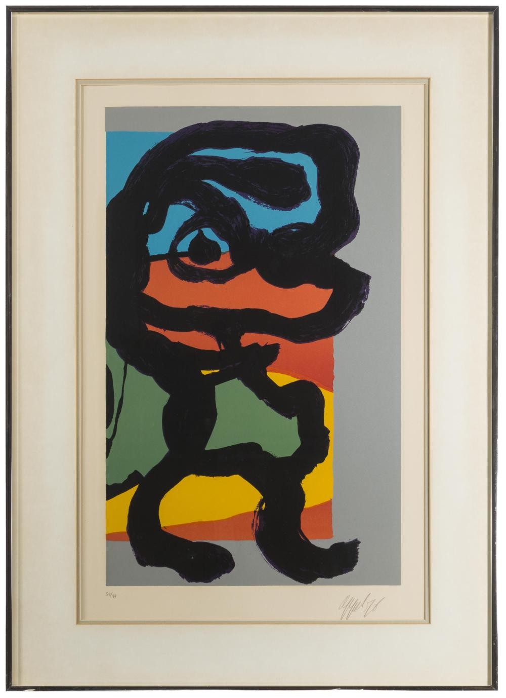 Karel Christiaan Appel, (1921-2006 Dutch), Untitled (Abstract figure), 1976, Color lithograph on paper under glass, Sight: 26