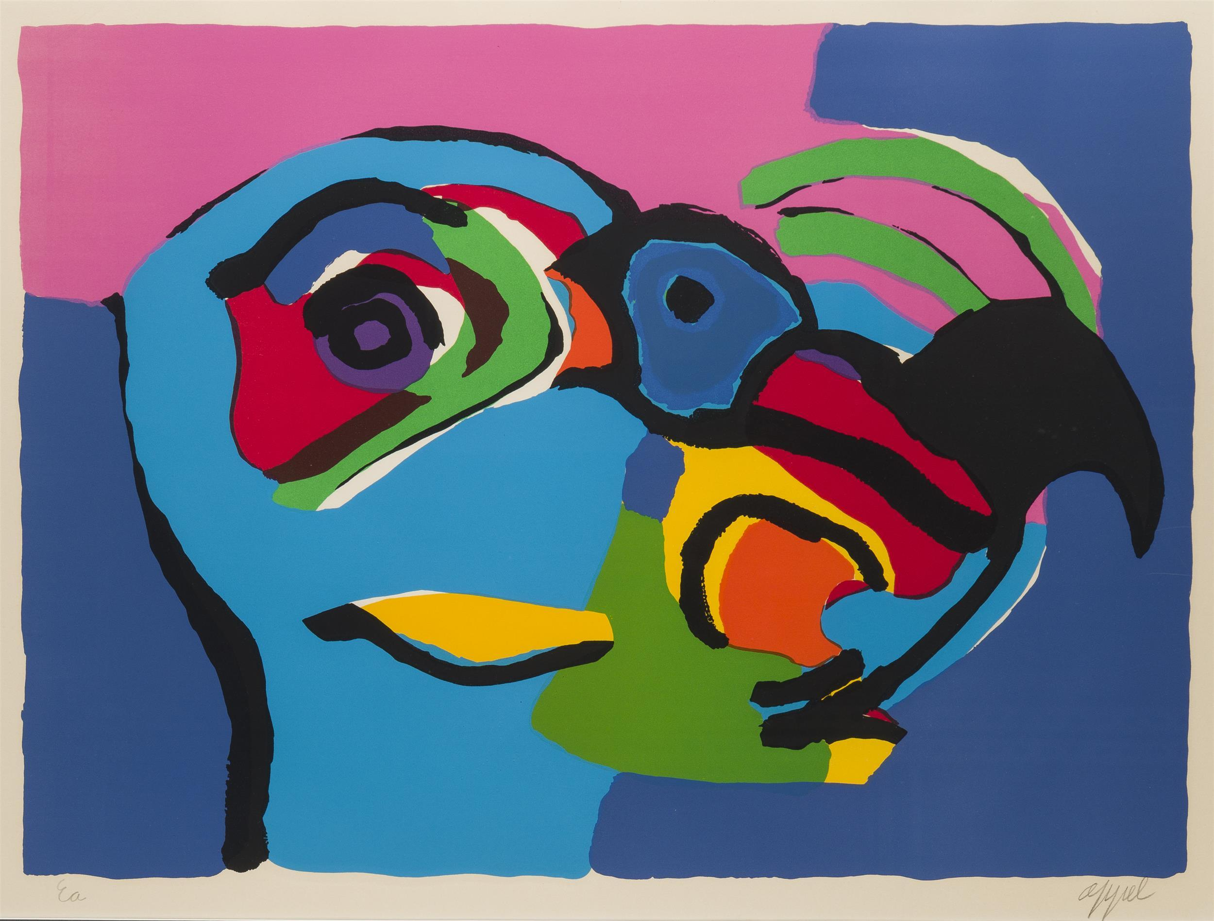 """Karel Christiaan Appel, (1921-2006 Dutch), Abstract bird, Color lithograph on paper under glass, Sight: 22.5"""" H x 30"""" W"""