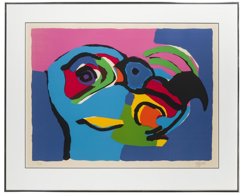 Karel Christiaan Appel, (1921-2006 Dutch), Abstract bird, Color lithograph on paper under glass, Sight: 22.5