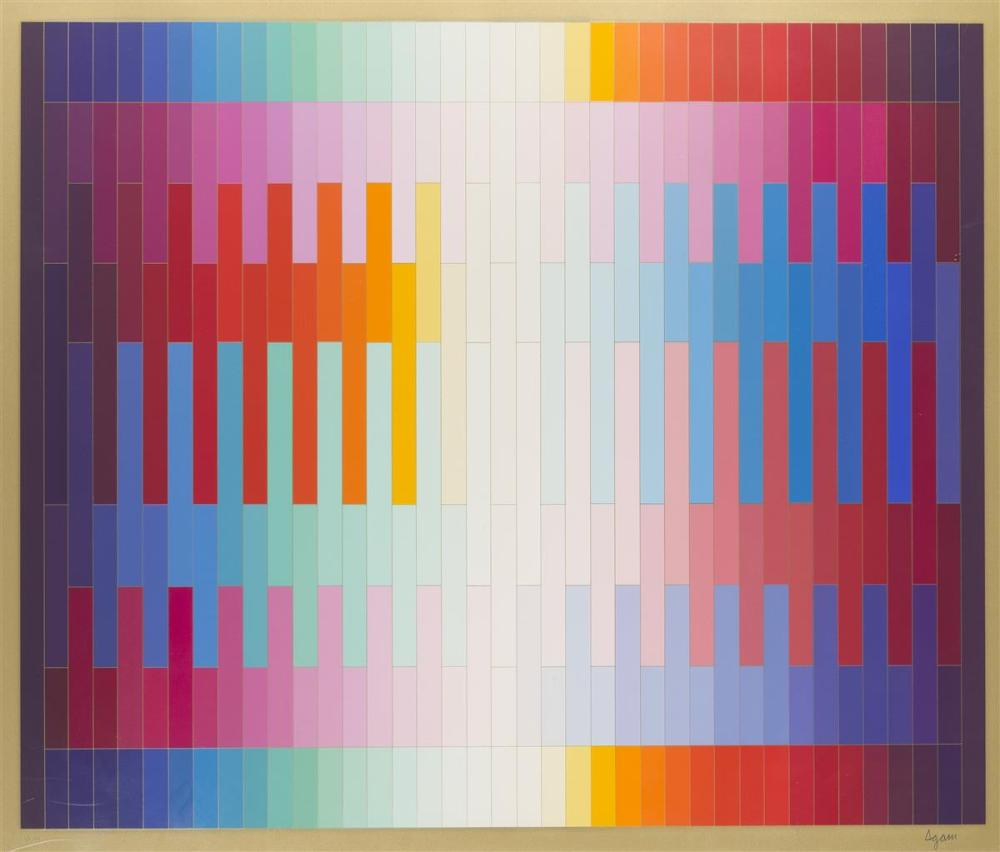 "Yaacov Agam, (1928-* Israeli), ""Magic Rainbow II (On Gold),"" 1981, Color serigraph on paper under Plexiglas, Image: 35"" H x 42"" W"