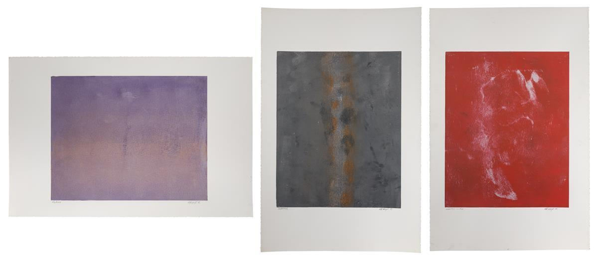 "M.R. Wright, (Late 20th Century American), ""Alchemy,"" ""Apparition in Red"" and ""Breakththrough,"" 1985; three works, Each: Monotype on pa"