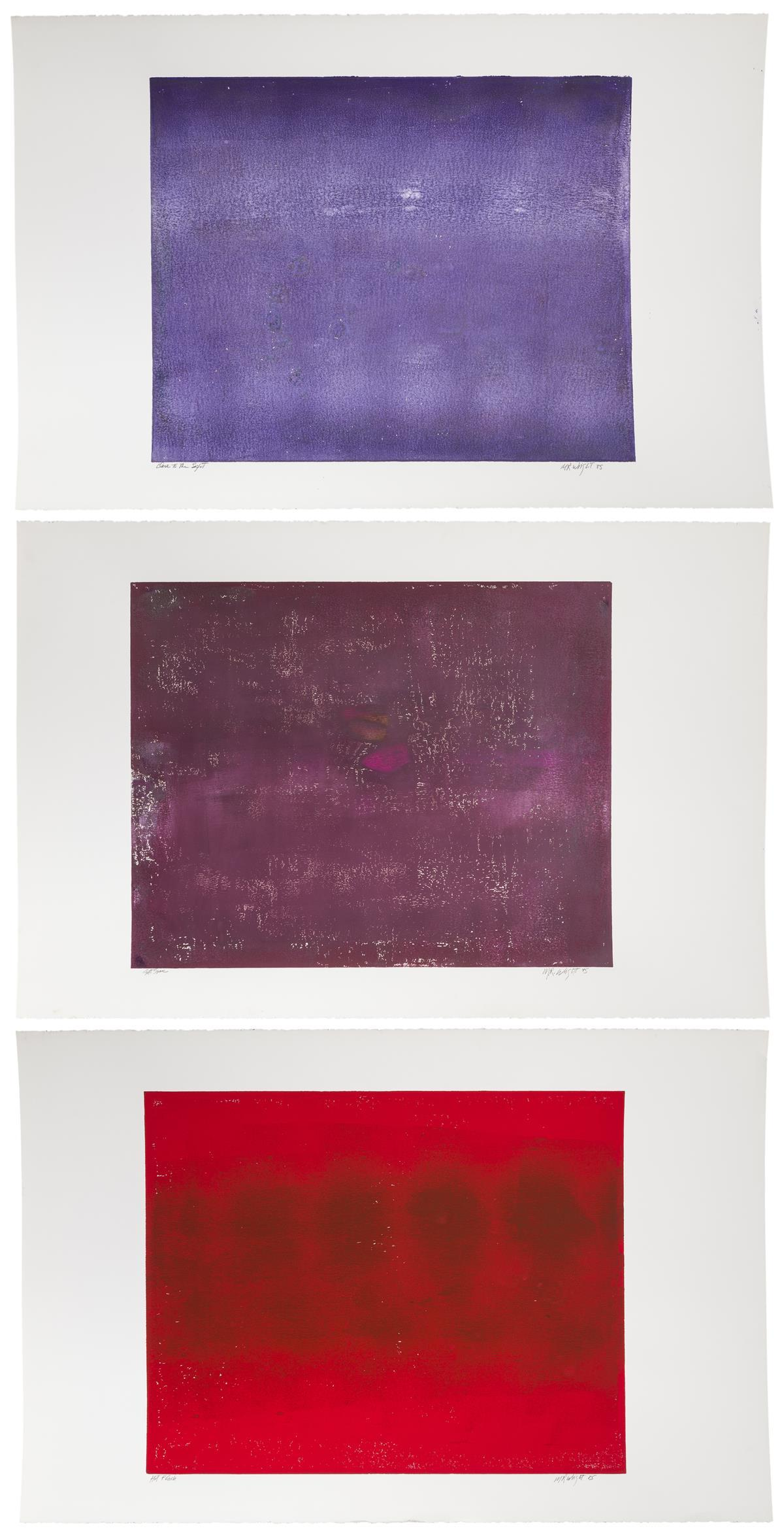 "M.R. Wright, (Late 20th Century American), ""Soft Space,"" ""Close to the Light"" and ""Hot Flash,"" 1985; three works, Each: Monotype on pap"