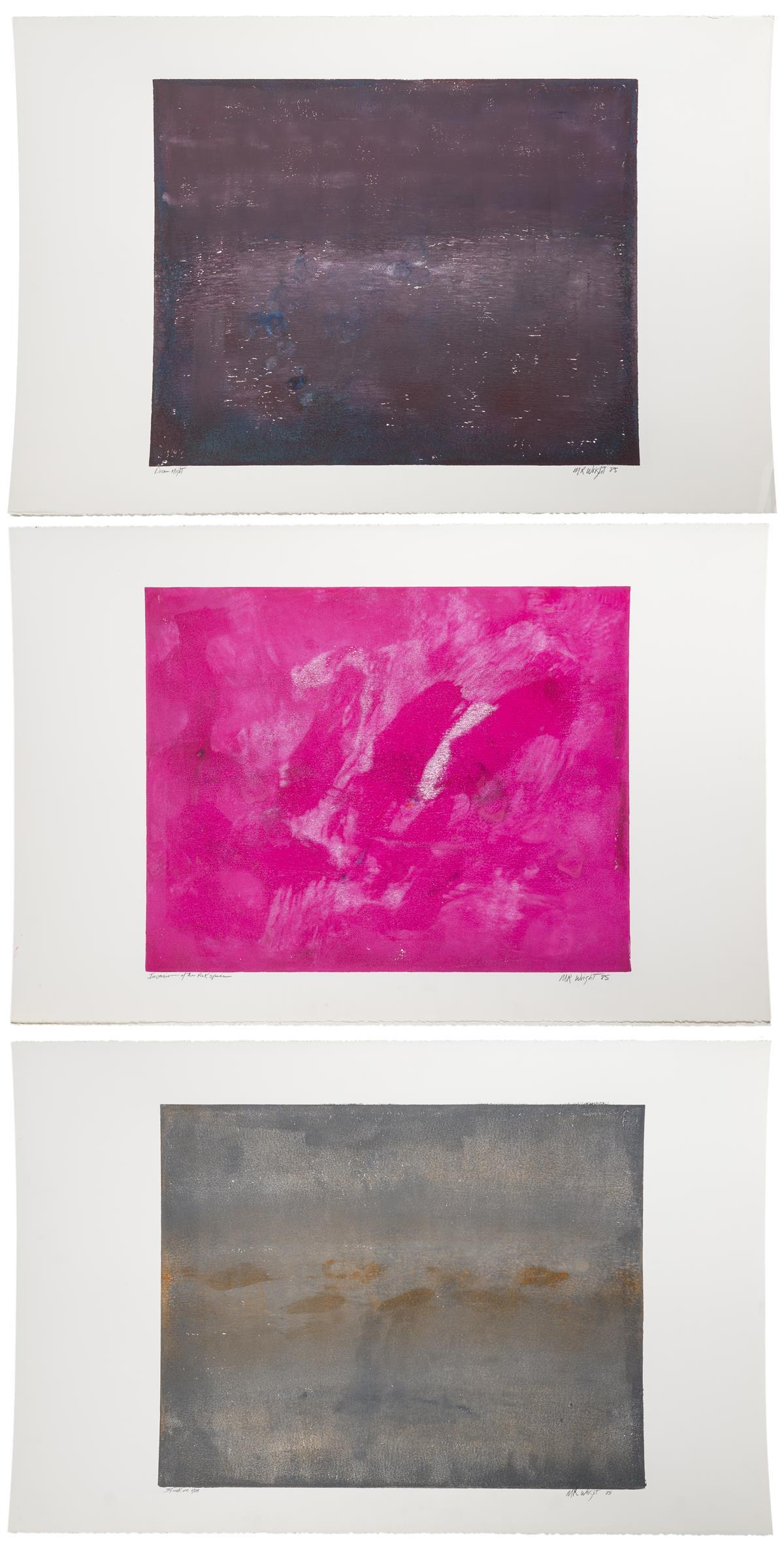 """M.R. Wright, (Late 20th Century American), """"Invasion of the Pink Space,"""" """"Dream Night"""" and """"Stuck on You,"""" 1985; three works, Each: Mon"""
