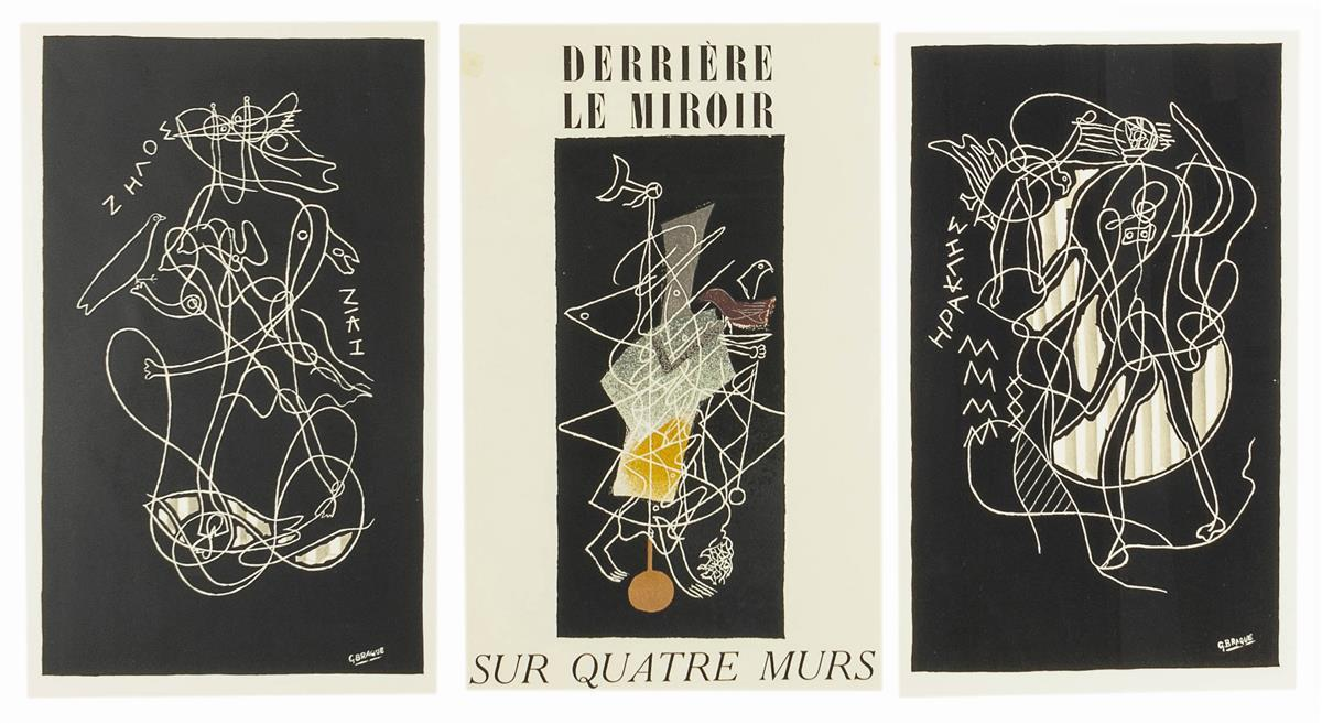 """Georges Braque, (1882-1963 French), Title page from """"Derriere le Miroir - Sur Quatre Murs,"""" """"Zelos"""" and """"Hercules,"""" 1952; three works,"""