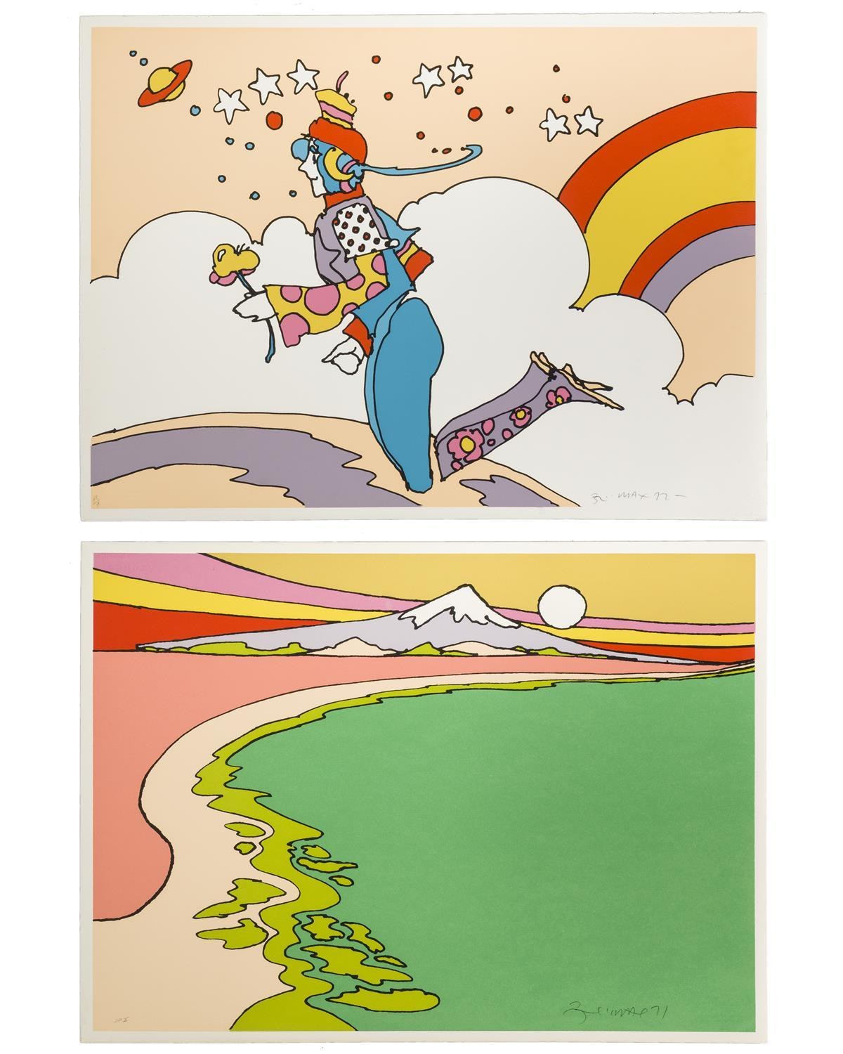 Peter Max, (1937-* New York, NY), Woman floating above clouds, 1972 and Shoreline with mountain, 1971, Each: Color lithograph on Arches