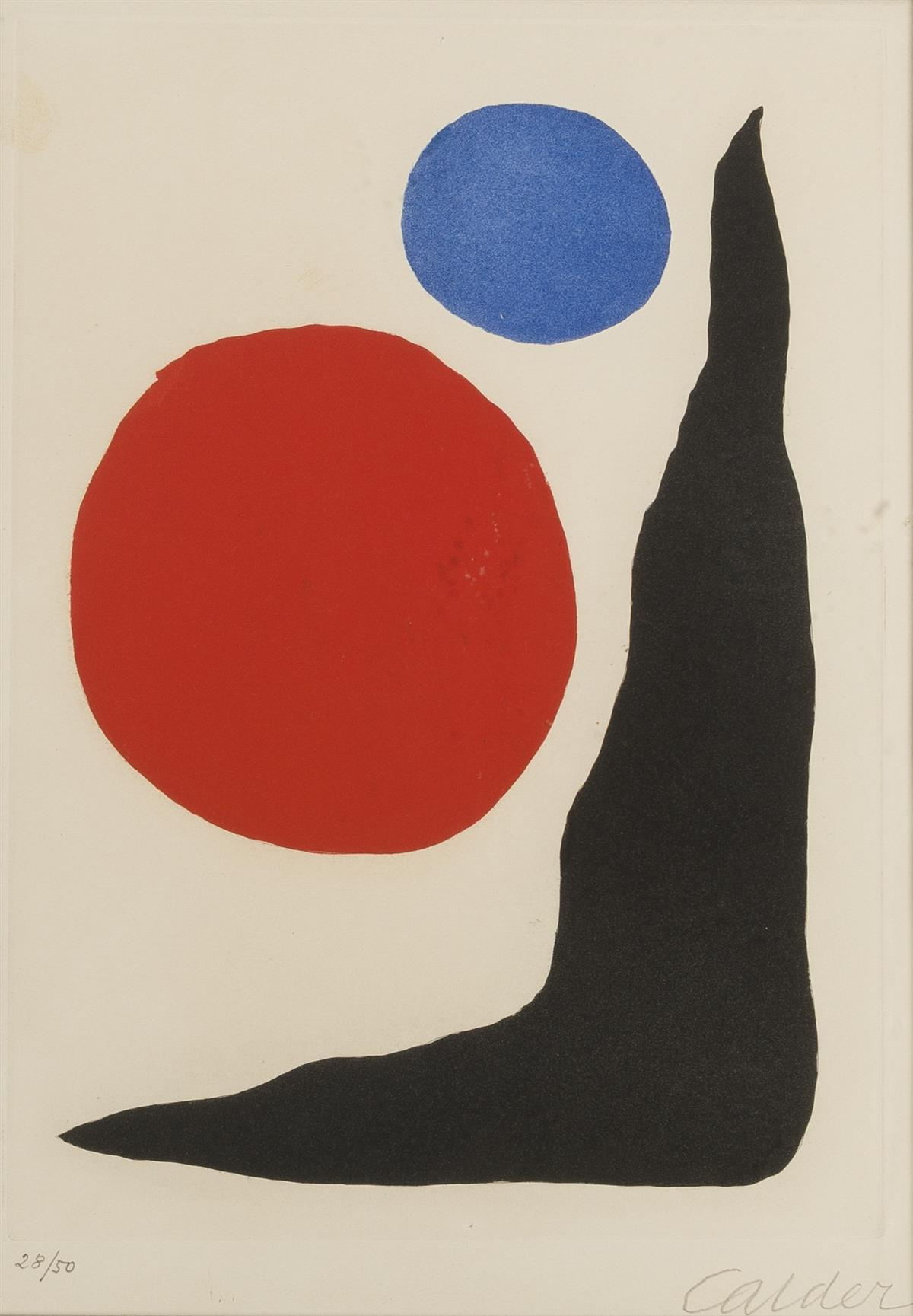 """Alexander Calder, (1898-1976 New York, NY), Untitled composition, 1967, Color etching on paper, Plate: 13.5"""" H x 9.5"""" W"""