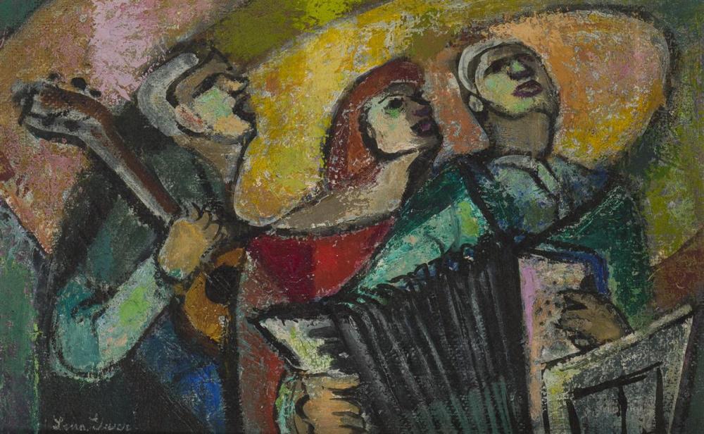 "Lena Gurr, (1897-1992 New York, NY), ""Three Musicians"", Oil on masonite, 10.75"" H x 16.75"" W"