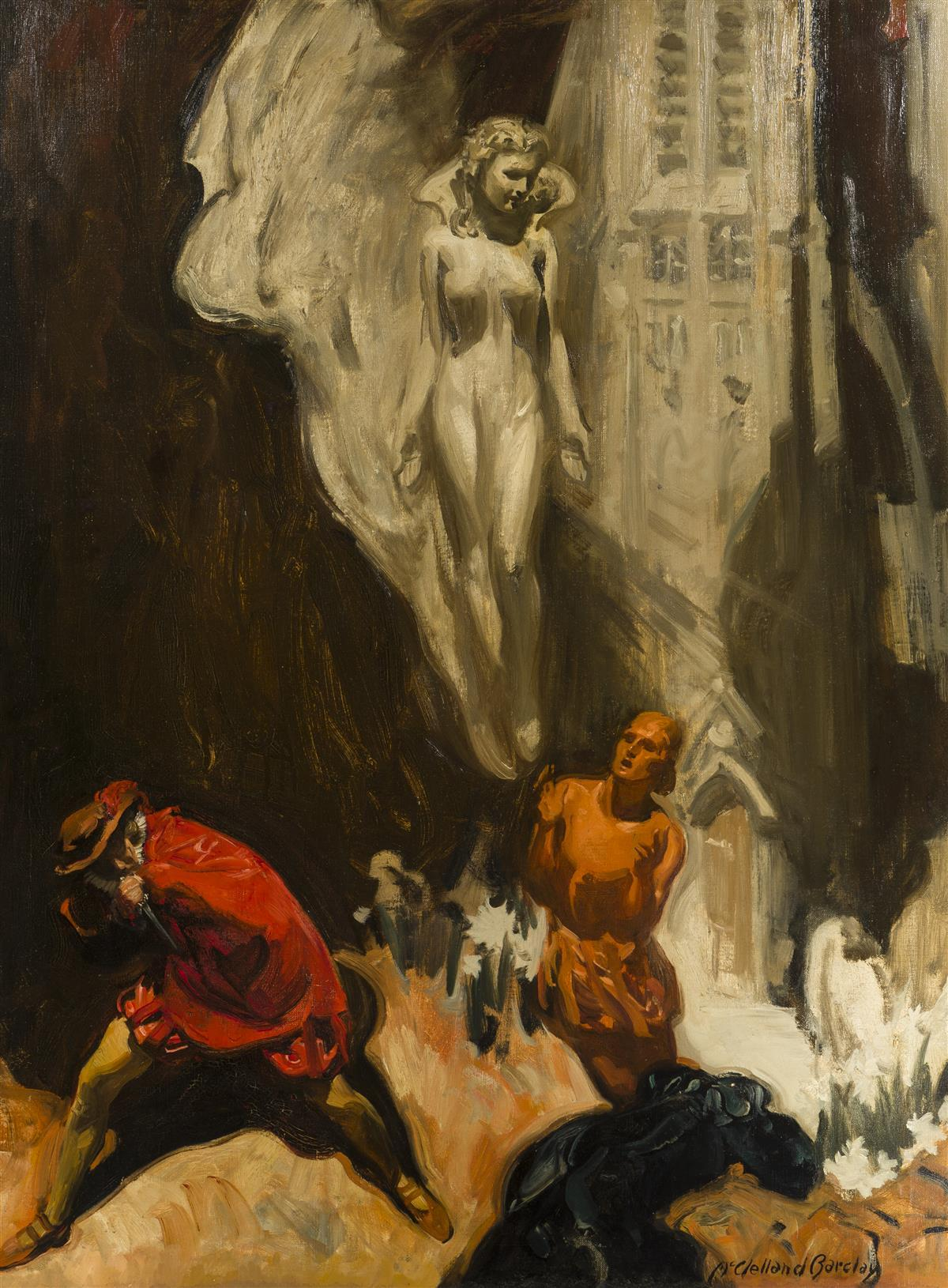 "McClelland Barclay, (1891-1943 American), ""Faust"", Oil on canvas, 40"" H x 30"" W"