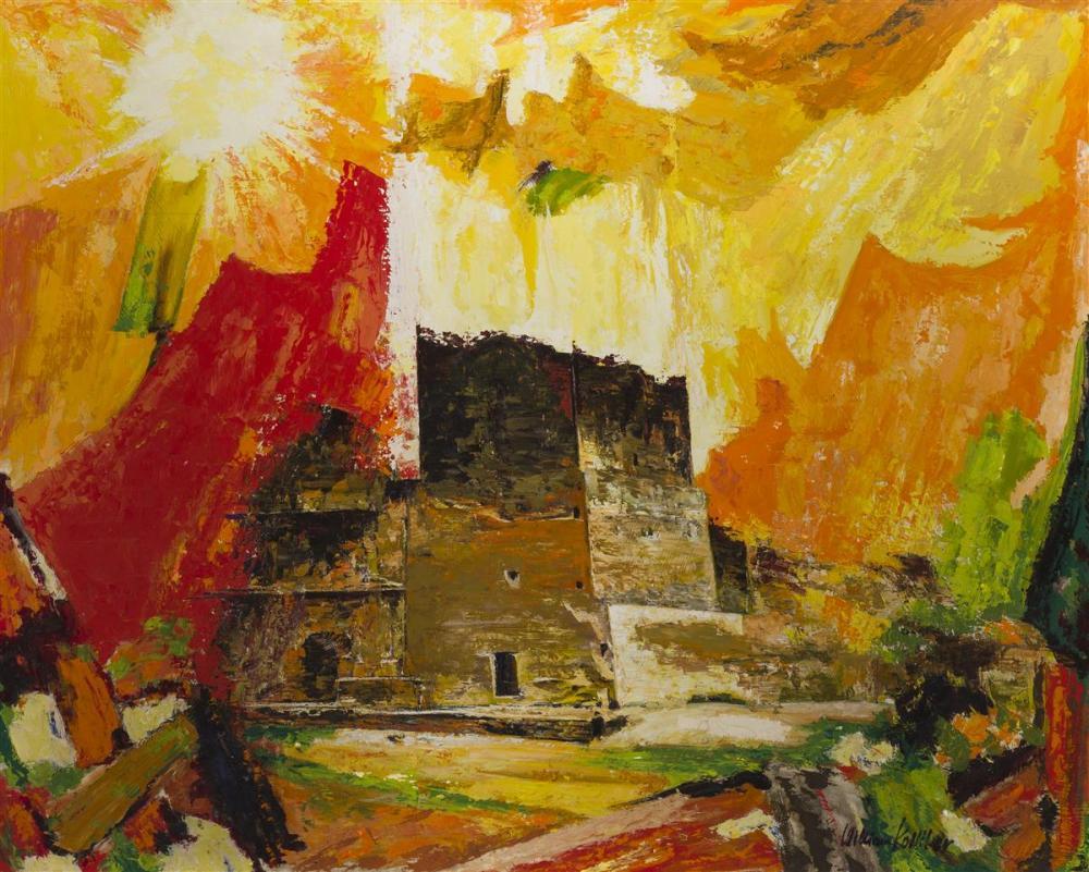"William Kolliker, (1905-* American/Swiss), Abstract structure, Oil on masonite, 31.75"" H x 39.5"" W"