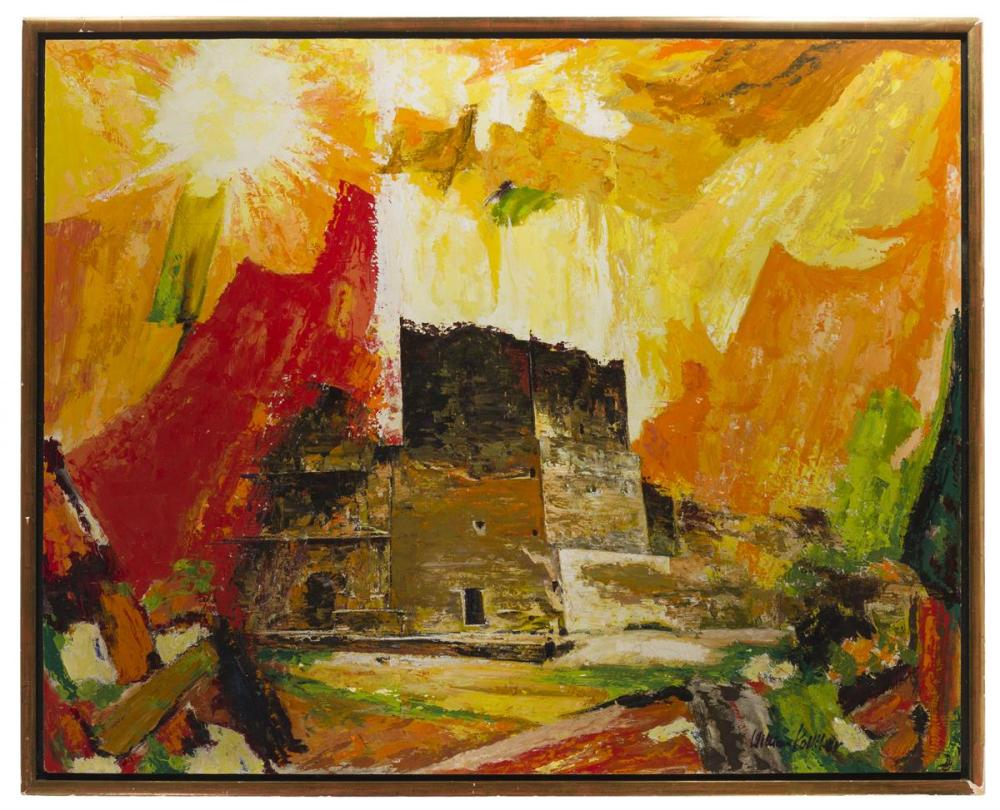 William Kolliker, (1905-* American/Swiss), Abstract structure, Oil on masonite, 31.75