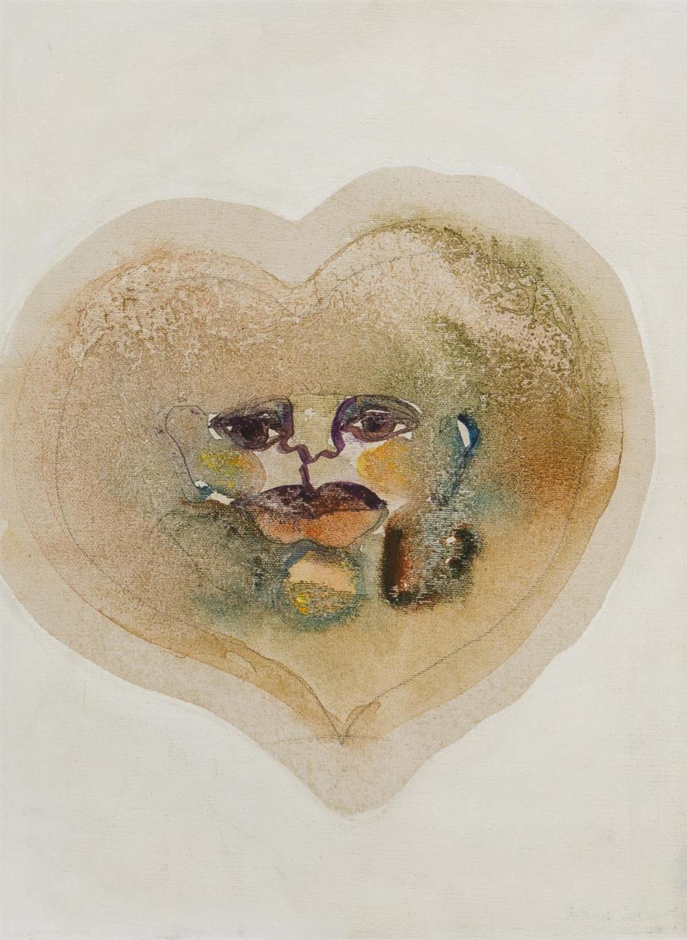 "Suzanne Jackson, (1944-* American), ""Womb"", Acrylic wash on canvas, 16"" H x 12"" W"