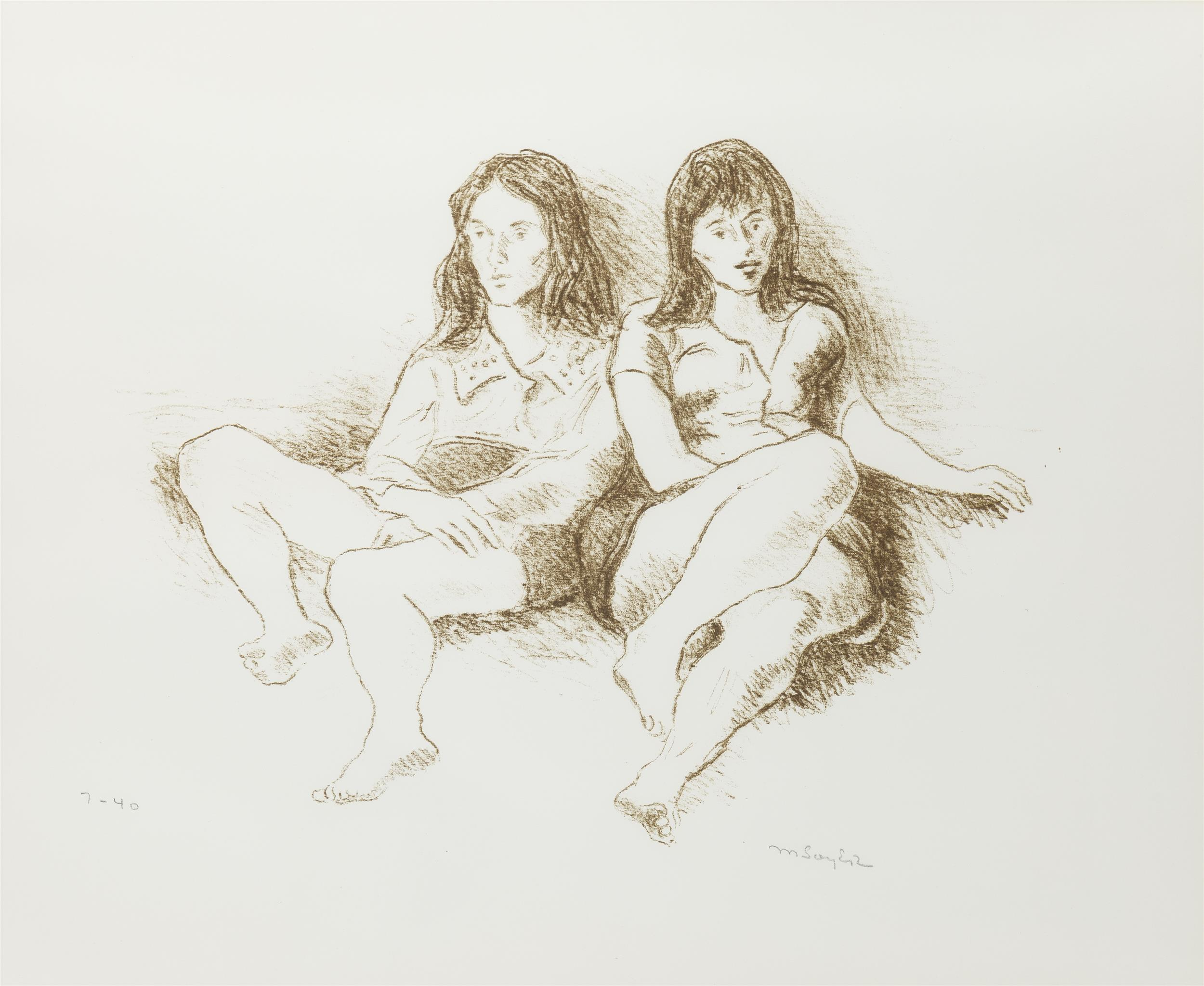 """Moses Soyer, (1899-1974 Hampton Bays, NY), Women reclining, Lithograph on paper under glass, Sight: 16.5"""" H x 20"""" W"""