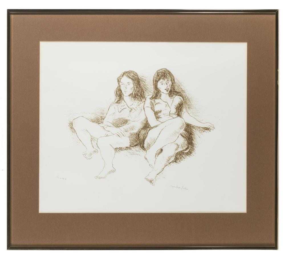 Moses Soyer, (1899-1974 Hampton Bays, NY), Women reclining, Lithograph on paper under glass, Sight: 16.5