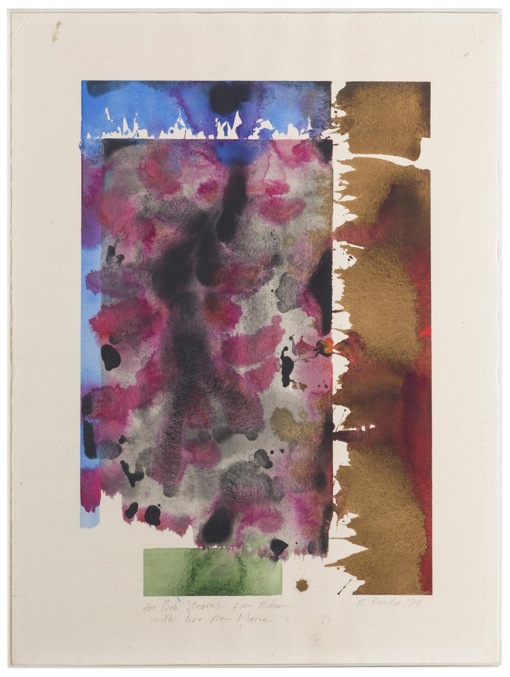 Edwin Ruda, (1922-2014 American), Untitled (Abstract), 1972, Watercolor on paper under Plexiglas, Image: 19