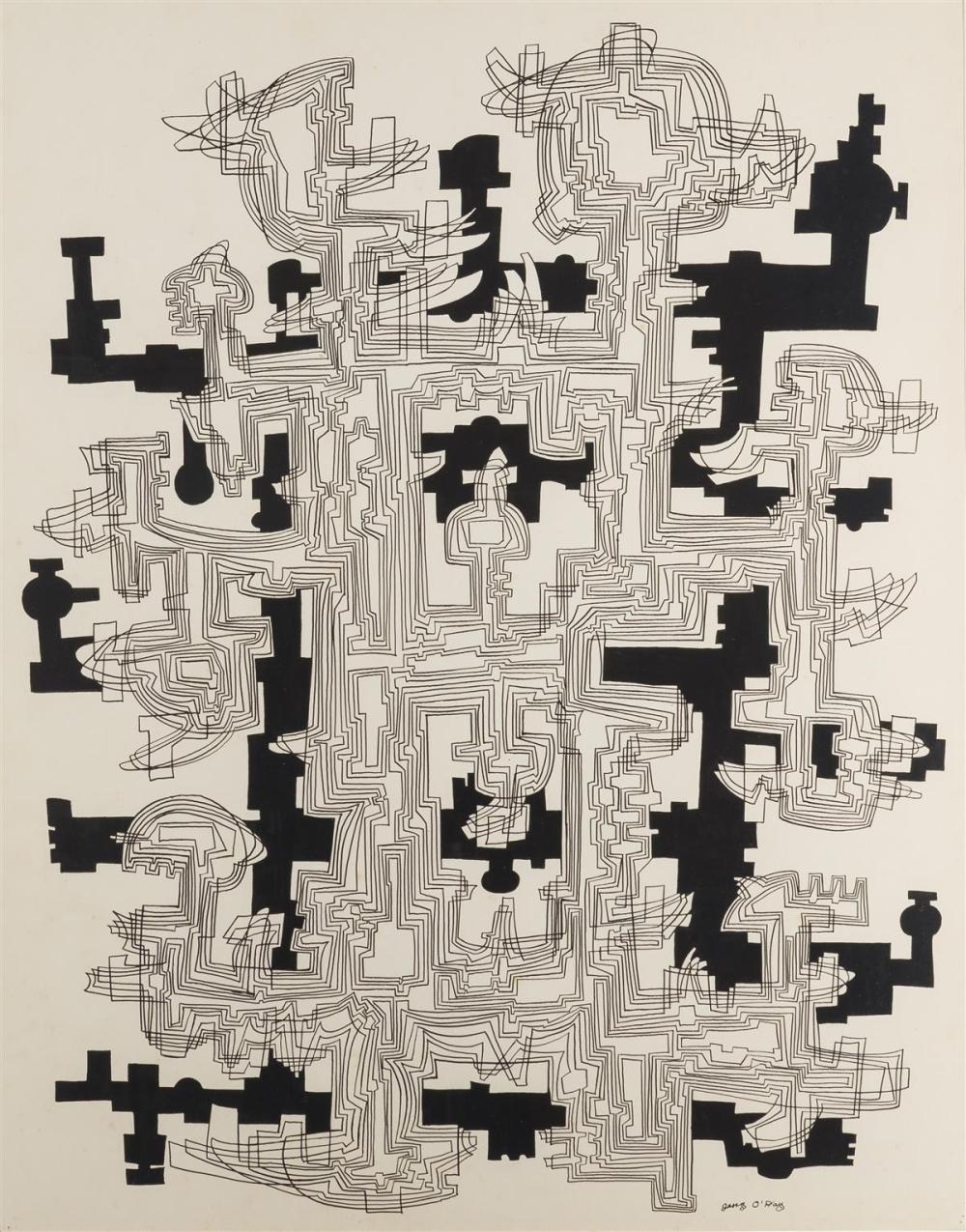 "Geraldine Heib, (1912-1986 American), Untitled (Abstract), Ink on paper under Plexiglas, Sight: 27.75"" H x 21.75"" W"