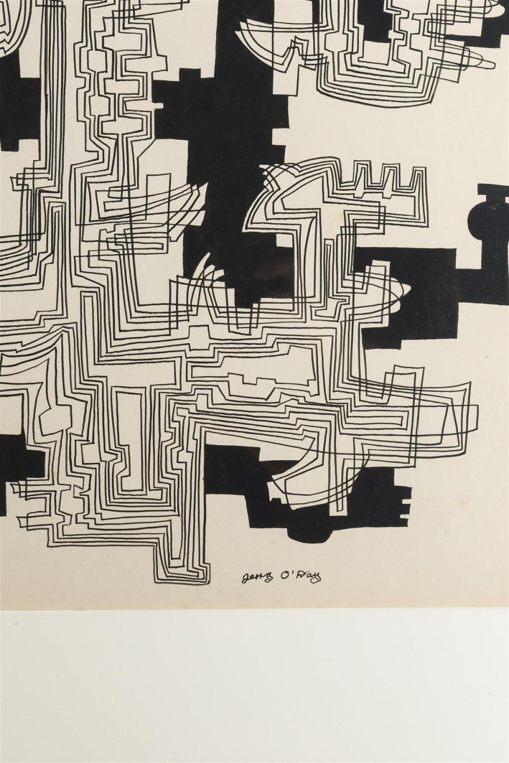 Geraldine Heib, (1912-1986 American), Untitled (Abstract), Ink on paper under Plexiglas, Sight: 27.75