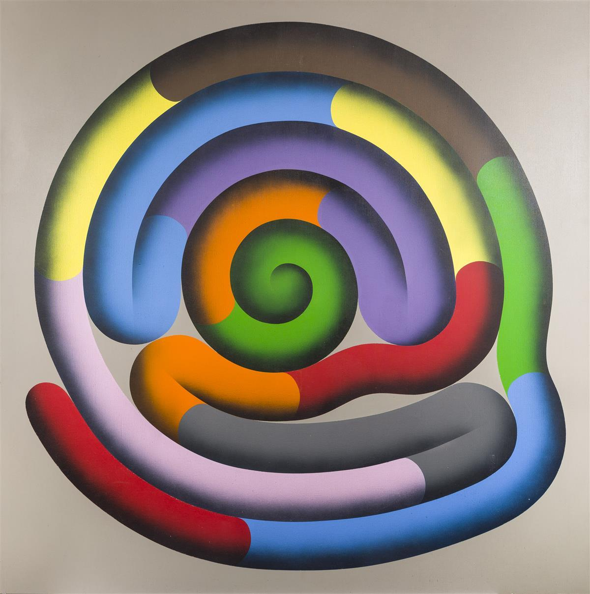 """Jeanette Styborski, (20th Century American), Untitled (Colored Maze), Oil on canvas, 72"""" H x 72"""" W"""