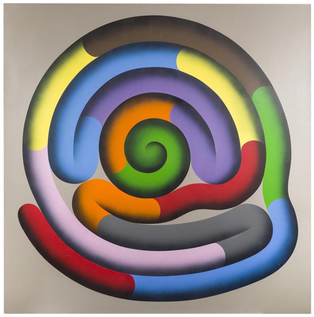 Jeanette Styborski, (20th Century American), Untitled (Colored Maze), Oil on canvas, 72