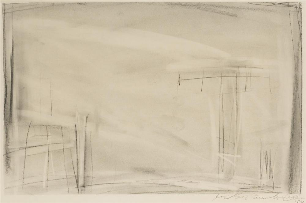 "Robert Wilson, (1941-* American), Drawing from the ""Knee Plays,"" 1984, Pencil and charcoal on Strathmore paper under glass, Image: 10"""