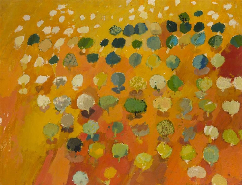 "John Fassbinder, (1931-* American), ""Orange Grove"", Oil on canvas, 26"" H x 34"" W"