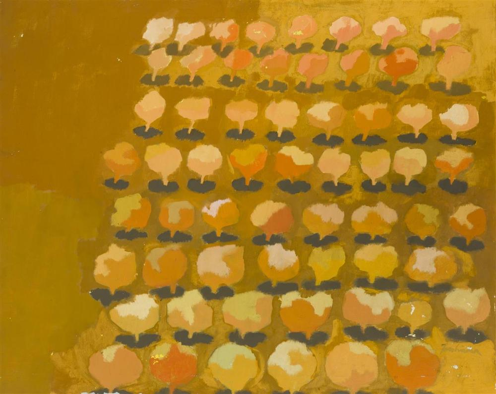 "John Fassbinder, (1931-* American), ""Orange Trees"", Oil on canvas, 24"" H x 29.75"" W"