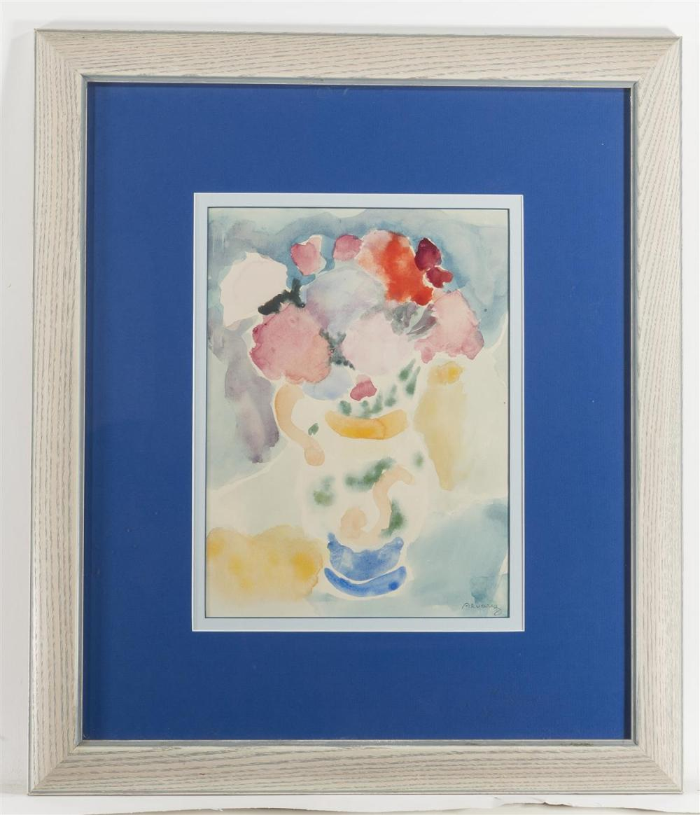 """Mabel Alvarez, (1891-1985 Los Angeles, CA), Still life of flowers in a painted pitcher, Watercolor on paper under glass, Sight: 11.5"""" H"""