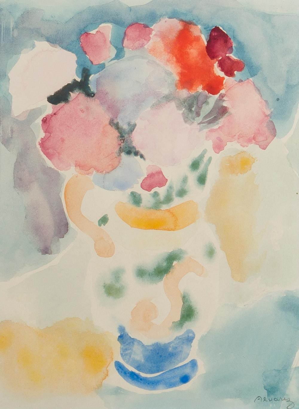 Mabel Alvarez, (1891-1985 Los Angeles, CA), Still life of flowers in a painted pitcher, Watercolor on paper under glass, Sight: 11.5