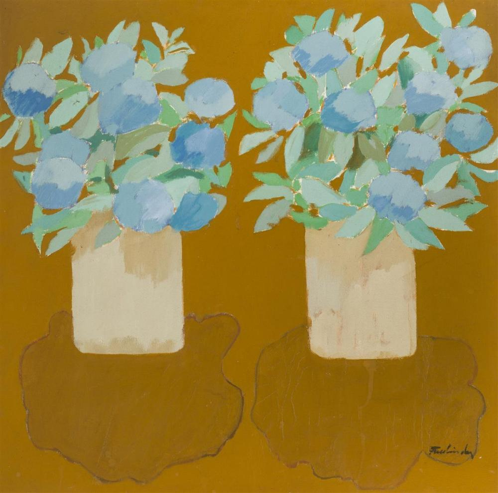 """John Fassbinder, (1931-* American), Still life with flowers, Oil on canvas, 28"""" H x 28"""" W"""