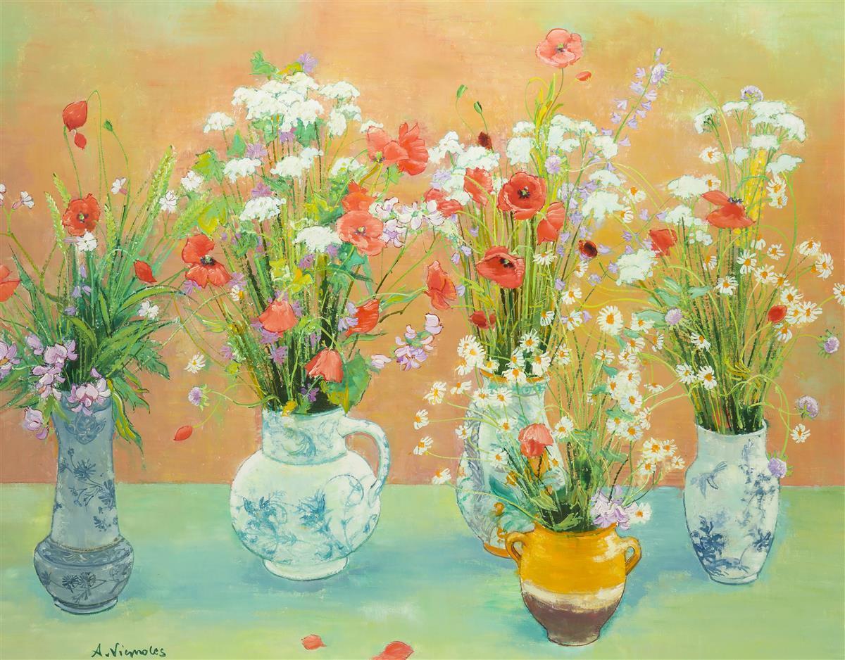 """Andre Vignoles, (1920-2017 French), """"Cinq Bouquets de Fleurs Sauvages"""", Oil on canvas, 29"""" H x 36.5"""" W"""